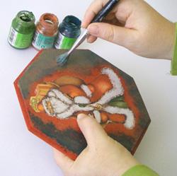 antikolt karácsonyi ajtódísz készítése