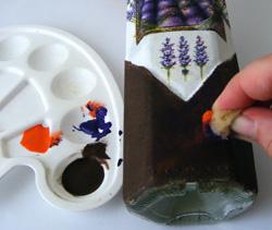levendulás üveg készítése decoupage technikával