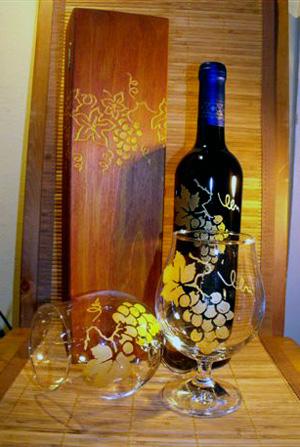gravírozás boros palack