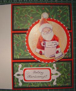 karácsonyi képeslap scrap technikával