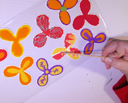 tavaszi ajtódísz üvegfestéssel