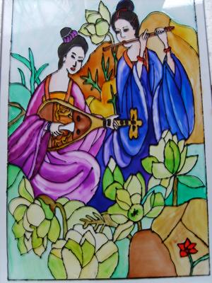 gésák zenéje üvegfestett kép