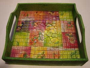 tálca mozaikkal
