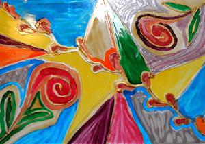 kikelet-kép üvegfestéssel