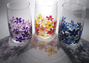 kisvirágos poharak üvegfestés
