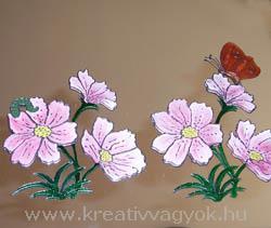 Üvegfestés - tükör virágokkal és pillangókkal